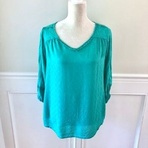 SKIES ARE BLUE Stitch Fix Teal Crochet Lace Blouse